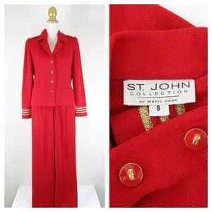 St. John Collection Red Gold Pant Suit Formal 8